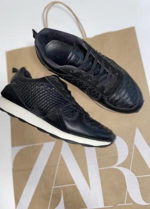 Кроссовки чёрные кожаные zara