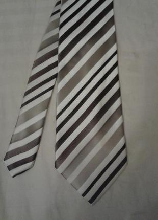 Галстук / краватка в молочні-коричневі смужки
