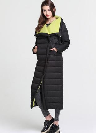 S (42) стильный длинный зимний пуховик пальто одеяло 90% пух basic vogue