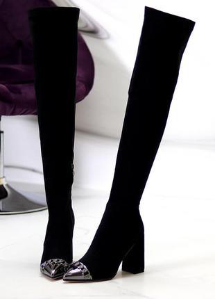 Черные замшевые эластичные женские сапоги ботфорты на флисе  к 11221