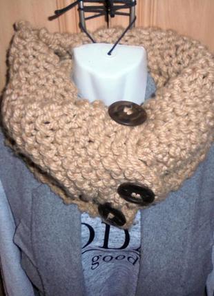 Вязаный шарф хомут снуд с пуговицами