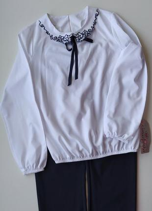 Белая нарядная школьная блузка польша