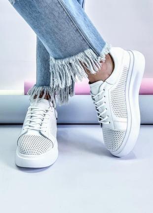 Белые кеды р32-41 натуральная кожа перфорация мокасины кроссовки кеди мокасини кросівки