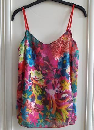 Топ, блузка, летняя, майка, свободная, яркая, гавайская, на бретелях, бабочки, тропические цветы