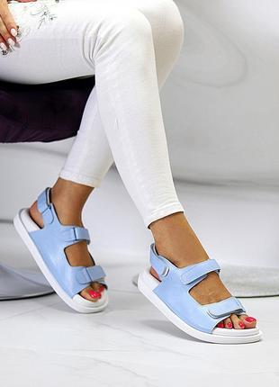Женские голубые спортивные босоножки из натуральной кожи на липучках в наличии и под отшив