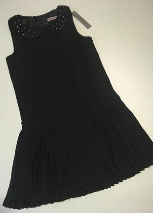 Нарядное школьное чёрное платье на подкладке
