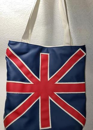 Сумочка с британским флагом кожзам мягкая вместительная