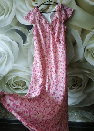 Воздушное макси платье в цветочный принт