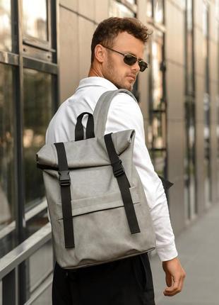 Мега стильный серый мужской рюкзак ролл топ