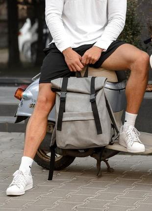 Мега стильный серый мужской рюкзак ролл топ3 фото