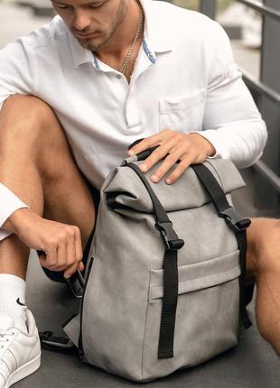 Мега стильный серый мужской рюкзак ролл топ2 фото