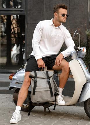 Мега стильный серый мужской рюкзак ролл топ5 фото