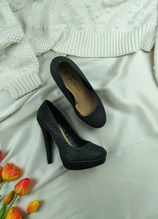 Туфли лодочки черные блестщие 38р.
