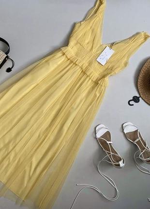 Новое шикарное фатиновое платье миди zara