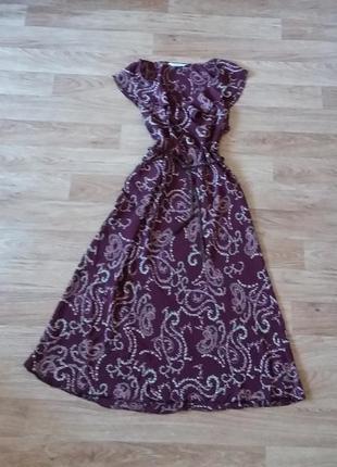 Платье миди в цветочный принт, сукня міді, 100% вискоза