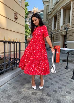 Платье женское батал летнее легкое миди длинное ниже колена красное