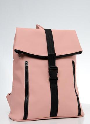 Розовый брендовый женский вместительный рюкзак для ноутбука экокожа