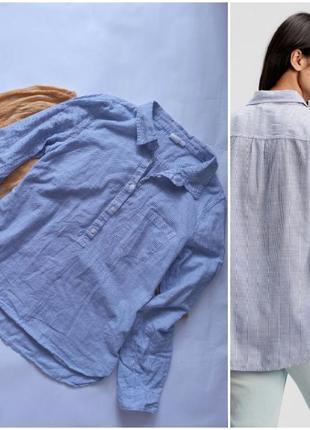 Рубашка коттон мелкая полоска удлинённая