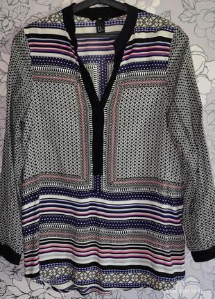 Блузка свободная  вискоза орнамент h,&m eu 38