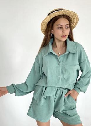 Костюм двойка рубашка длинная свободная шорты высокая посадка завышенная талия