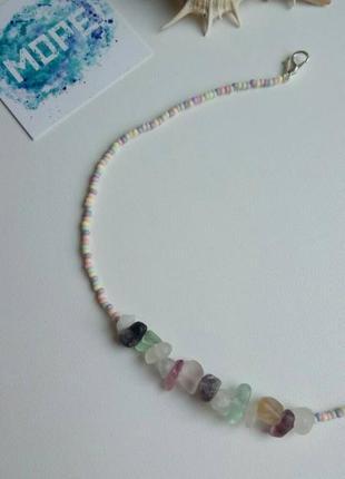 Чокер из бисера и натурального камня, цветной, кольоровий, колье, тренд 2021, ожерелье