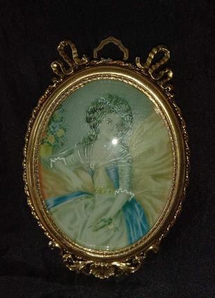 Мини портрет антиквариат ручная роспись латунь