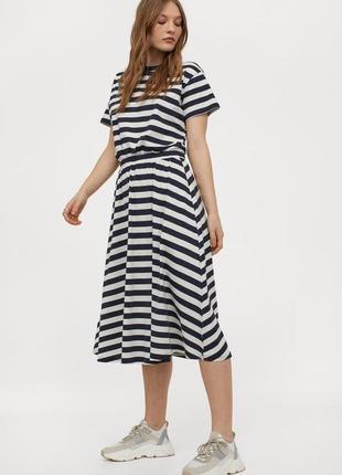 Фирменное натуральное котоновое трикотажное платье миди тельняшка супер качество!