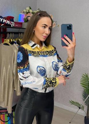 Яркая крутая рубашка блузка с принтом креп-шифон офис