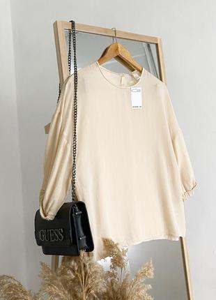 Натуральная блузка 100% лиоцелл с рукавами баффами h&m