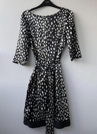 Платье zara в горошек сатиновое миди черно-белое универсальное вечернее