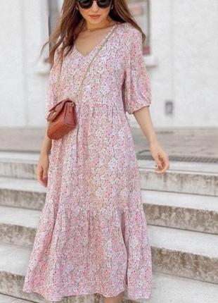 Платье миди цветочный принт h&m zara
