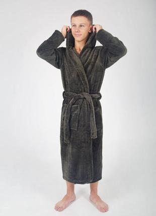 Мужской халат , подростковый длинный махровый
