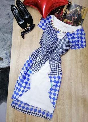Новое длинное многослойное платье с украшением на груди в принт xxl