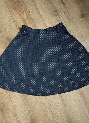 Короткая юбка черного цвета в белый горох h&m, р. xs, замеры на фото