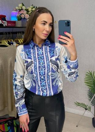 Блузка рубашка с ярким принтом офис нарядная