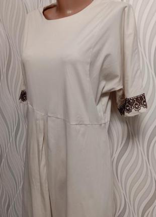 Cos платье миди коттон с ажурной отделкой