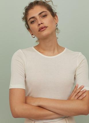 H&m silk blend базовая футболка в рубчик