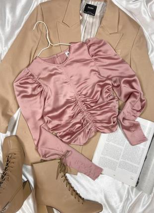 Атласная / сатиновая/ шёлковая укороченная блузка/ блуза м драпировкой