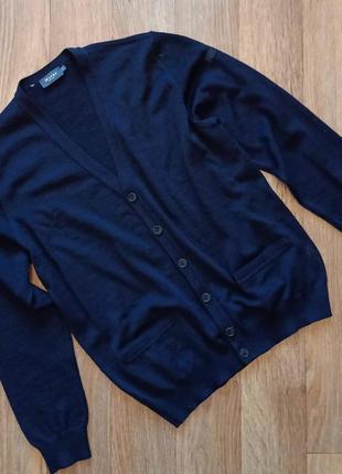 Базовый шерстяной кардиган свитер оверсайз с мужского плеча