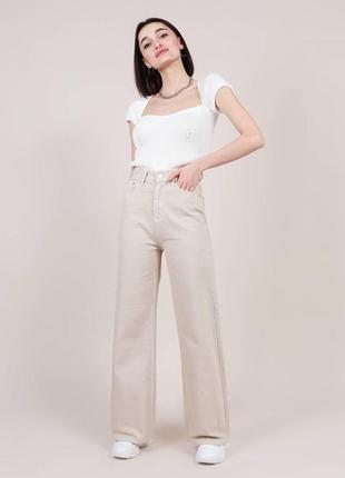 Качественные котоновые бежевые свободные джинсы клеш/палаццо высокая посадка хс-л