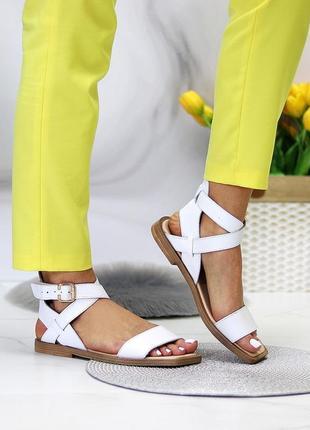 Люксовые кожаные белые босоножки римлянки натуральная кожа низкий ход  в наличии6 фото