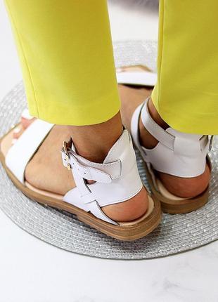 Люксовые кожаные белые босоножки римлянки натуральная кожа низкий ход  в наличии8 фото