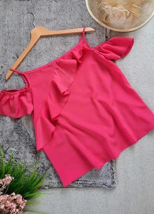 Нежный розовый топ  блуза с воланами