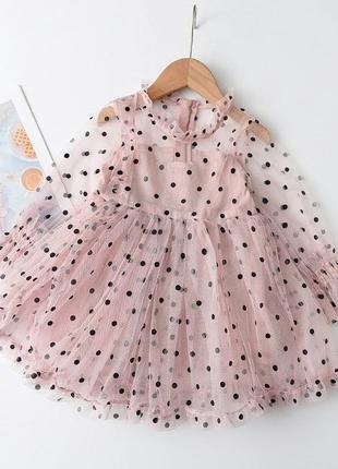 Нарядное платье для девочек в горошек (маломер)