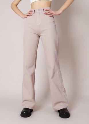 Качественные котоновые бежевые свободные джинсы клеш/палаццо высокая посадка wide leg с,л