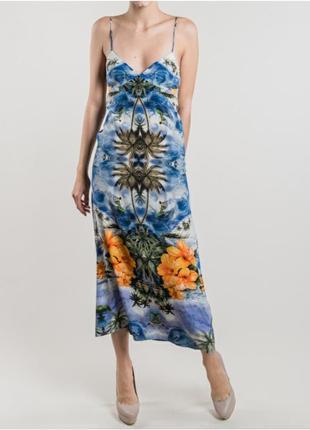 Stella mccartney длинный шёлковый сарафан платье в гавайский принт оригинал новое