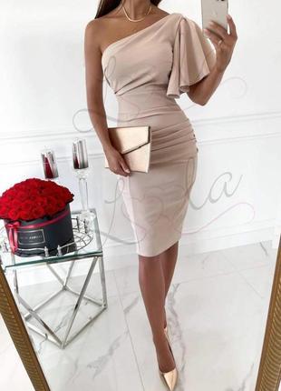 Элегантное брендовое платье цвета чайной розы на  одно плечо