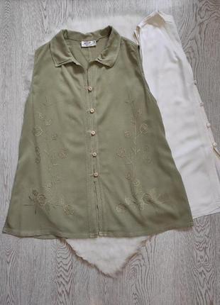 Зеленая хаки натуральная туника длинная блуза майка с пуговицами вышивкой цветочной рубашка батал