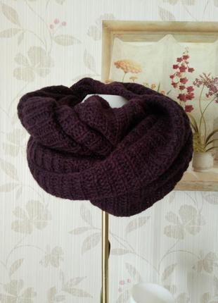 Объемный вязаный шарф хомут снуд