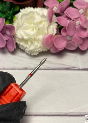 Алмазная фреза почка красная диаметр 2 мм / рабочая часть 6 мм